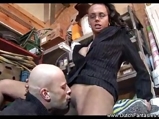 Dutch mature With Glasses Got Laid At Work - Vintage