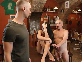 DADDY4K. Old dad seduces beautiful dark hair while son..
