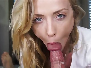 Sexually attractive young babe sucks big meaty load of shit