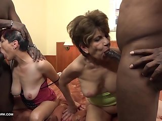 Granny group interracial fuck the grannies suck black cocks