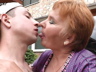 Old granny fucks her toy young man