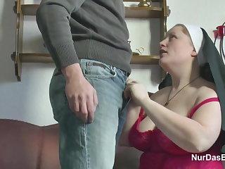German Young manhood seduce Granny Nun to Fuck Him