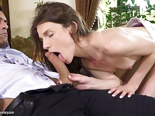 Delicate brunette babe Nelya gets the brush asshole pounded and cream speckle