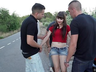 Sunless teen slut Luna Rival gangbanged with an increment of creampied open-air