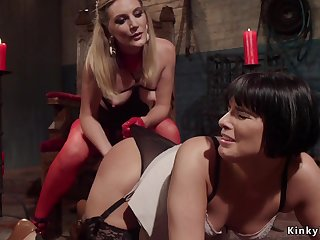 Raven haired lesbian spanked and ass fucking shagged