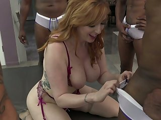 White and black dudes fuck heavy bottomed and busty bawd Lauren Phillips