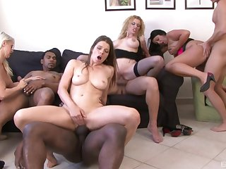 Matured Colette coupled with her classy girls swallow cum in a hardcore orgy