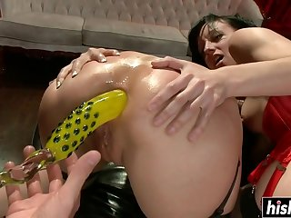Team a few babes share a bbw prick - ejaculations