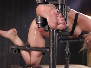 Tow-headed on every side gadget bondage anal fingered
