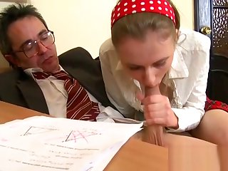 Sweet chick offers their way wild pussy for teacher's pleasure