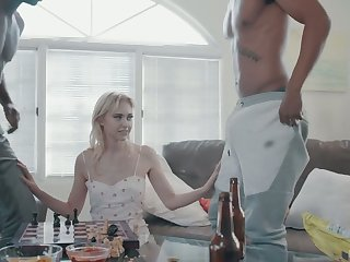 Skinny blonde with small tits Chloe Roseate gets double penetrated