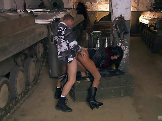 Army man fucks whore in the ass and pussy
