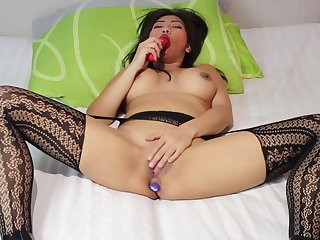 Asian MILF playing with respect to pussy together with butt promotion