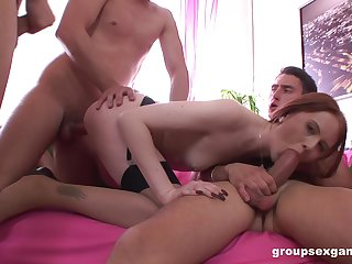 Cute redhead tries a group of men for insane fucking