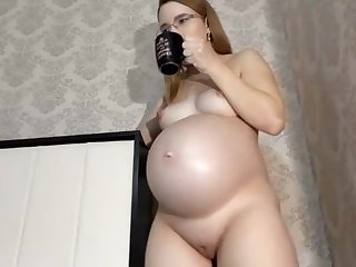 Sofia pregnant, 8 days left before birth, Anal, Chaturbate