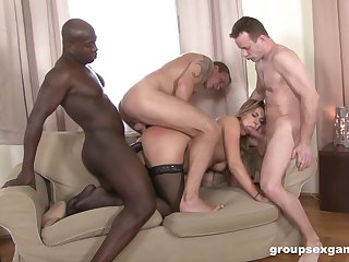 Twosome men fucking the wife and creaming her face hard