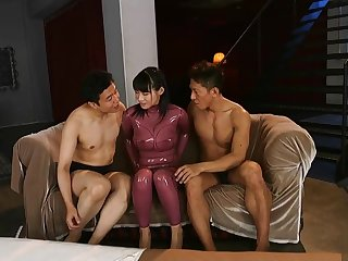 Japanese in Latex Catsuit, shiny ass and legs HD