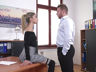 Light haired generalized Ciara Riviera is disconsolate secretary who loves some steamy roger