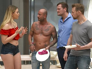 Wild bitch Selvaggia goes crazy during hardcore gang bang with lascivious studs