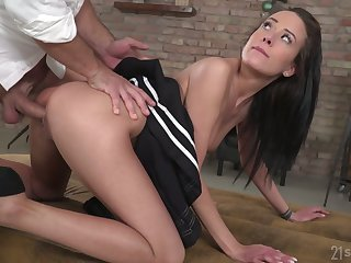 Hungarian brunette Lexi Layo is fucked thither tight anal aperture doggy style