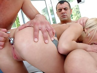 Slutty girl Katrin Tequila gets double penetrated and jizzed off out of one's mind two big dudes