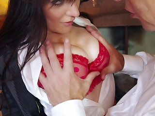Stunning brunette enjoys some hardcore caring from at one in a kilt