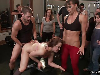 Bound slave is double fuck banged in elevate d vomit gym