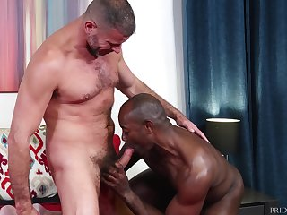 Interracial lovers Clay Towers and Aaron Trainer marshal the heat