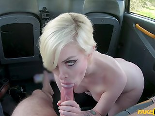 Cute blonde takes cock on put emphasize back seat on her way dwelling-place