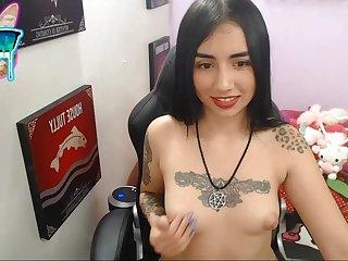 Tattoed girl alone masturbation on webcam