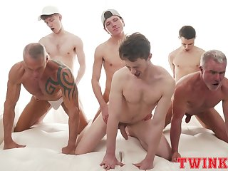 Hunky devise of young gay boys delights forth a daring anal orgy