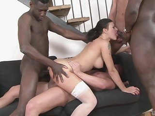 Seductive main ass fucked by multiple black partners