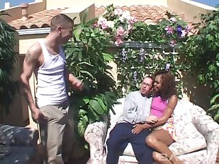 Double penetration interracial threesome with ebony Marie Luv