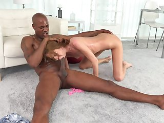 Needy girl throats the BBC before putting it in her skinny cunt