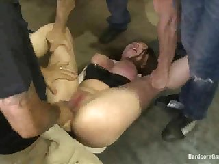 Harmful anal gangbang fuck for one busty submissive slut who likes euphoria rough!