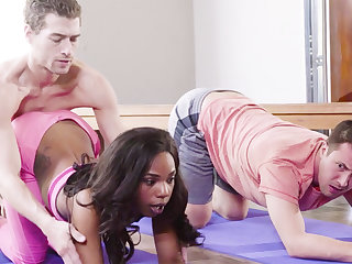 Yoga Teacher Fucked Ebony Girl alongside Threesome