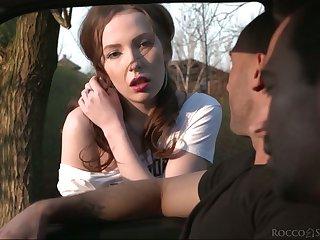 Hitchhiker Lina Mercury enjoys illogical threesome sex respecting strangers