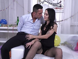 Hardcore ass fuck and mouth energetic of cum for Sasha Sparrow in fishnets