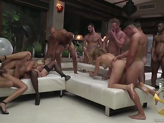 Complete whore Linda Leclair and her nasty GF take part in crazy gangbang