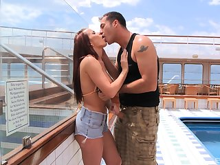 Seductive redhead Cindy Dollar sucks coupled with rides cock on a yacht