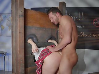 Schoolgirl gets ass fucked by the horny teacher